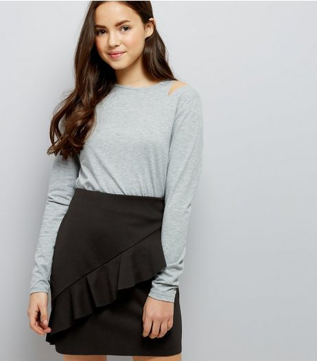 Teens Black Frill Front Tube Skirt | New Look