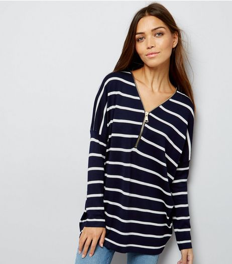 Blue Vanilla Nacy Stripe Zip Front Jumper | New Look