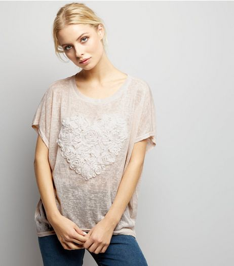 Blue Vanilla Shell Pink Textured Heart Design Top | New Look
