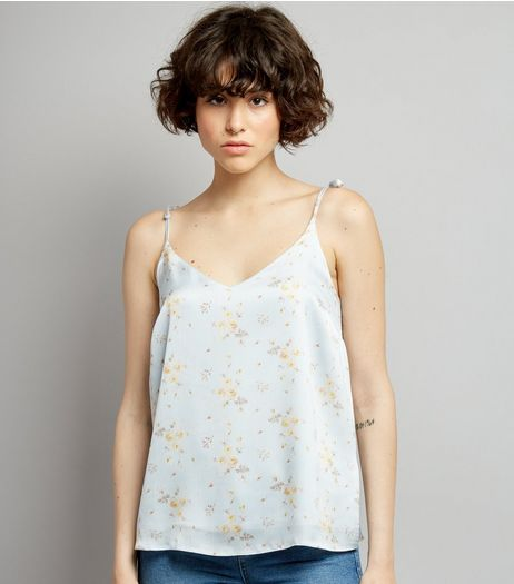 Blue Floral Print Satin Tie Strap Cami | New Look