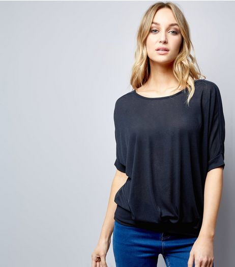 Blue Vanilla Navy Chiffon Cross Back Top | New Look