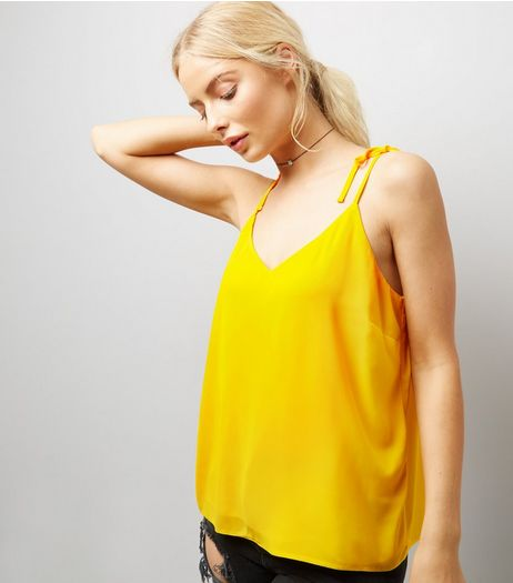 Yellow Tie Strap Cami Top  | New Look