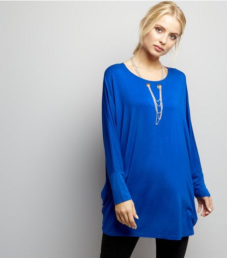 Blue Vanilla Blue Necklace Detail Oversized Top | New Look
