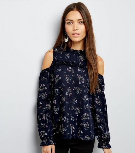 Blue Vanilla Navy Floral Cold Shoulder Frill Trim Top | New Look