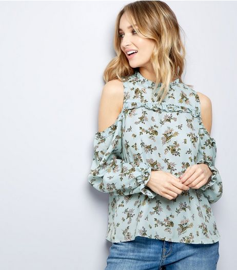 Blue Vanilla Pale Blue Floral Cold Shoulder Frill Trim Top | New Look
