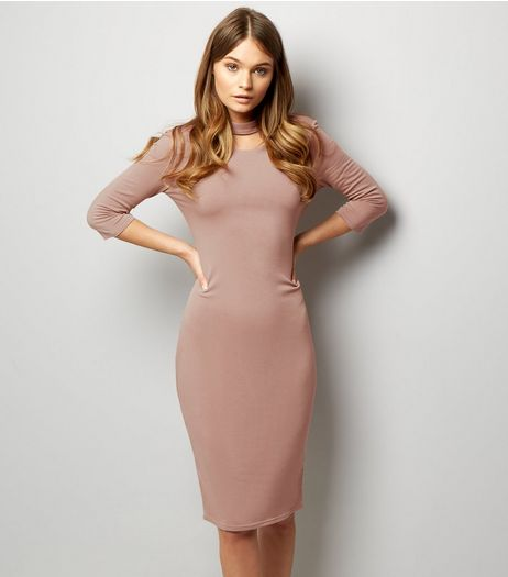 Pink Vanilla Mid Pink Choker Neck V Back Midi Dress | New Look