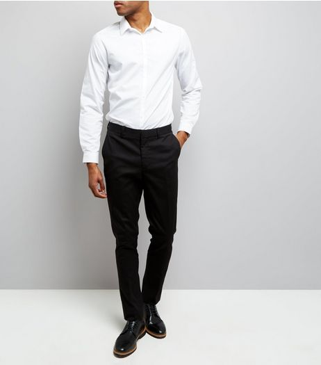 Black Cotton Skinny Tailored Trousers | New Look