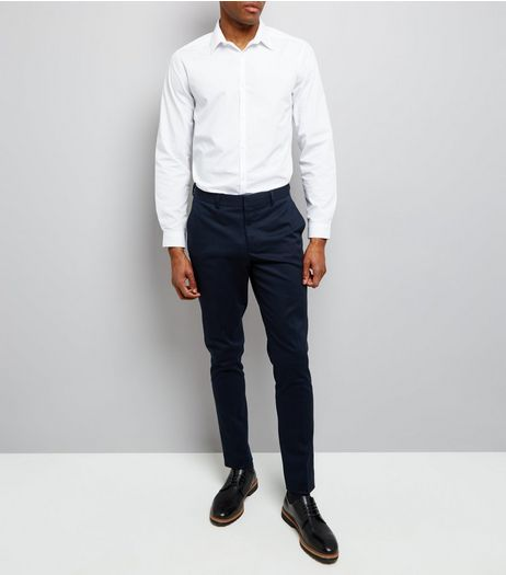 Navy Cotton Skinny Tailored Trousers | New Look