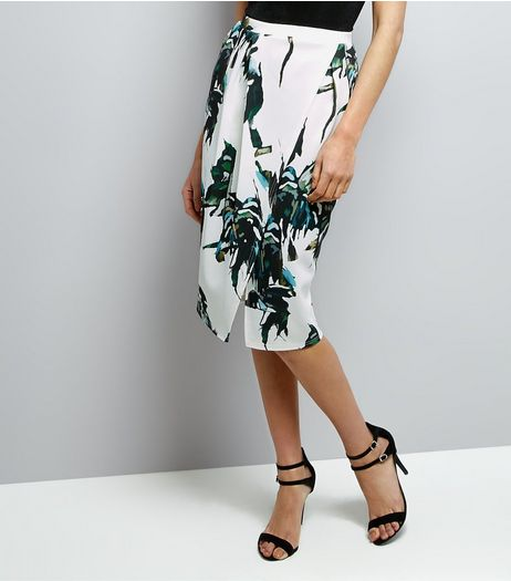 QED White Palm Print Wrap Front Midi Skirt | New Look