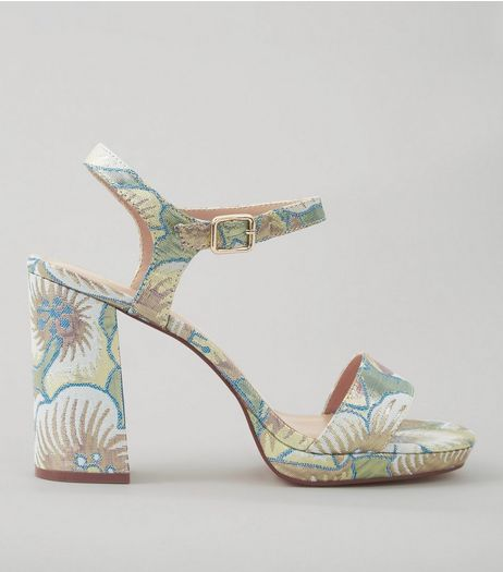 Wide Fit Pastel Blue Floral Brocade Heeled Sandals | New Look