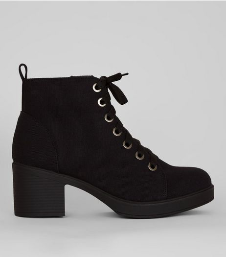 Wide Fit Black Canvas Lace Up Ankle Boots | New Look