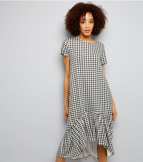 Innocence Black Gingham Frill Dip Hem Dress | New Look