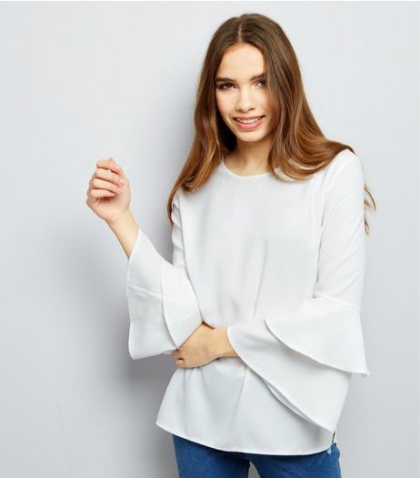 Cameo Rose White Layered Frill Sleeve Top  | New Look