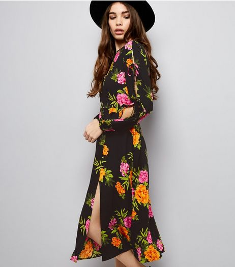 Black Floral Print Tie Sleeve Midi Dress | New Look