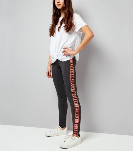 Teens Dark Grey No Rules Side Stripe Leggings | New Look