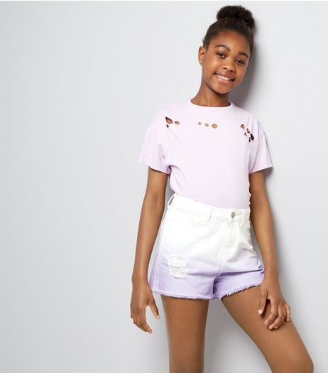 Teens Lilac Dip Dye Denim Shorts | New Look