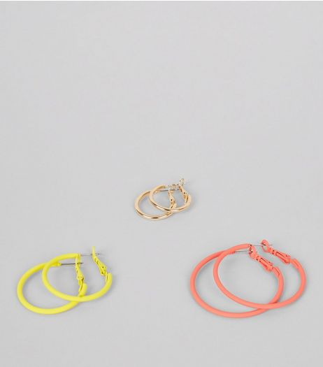 3 Pack Red Yellow and Gold Hoop Earrings | New Look