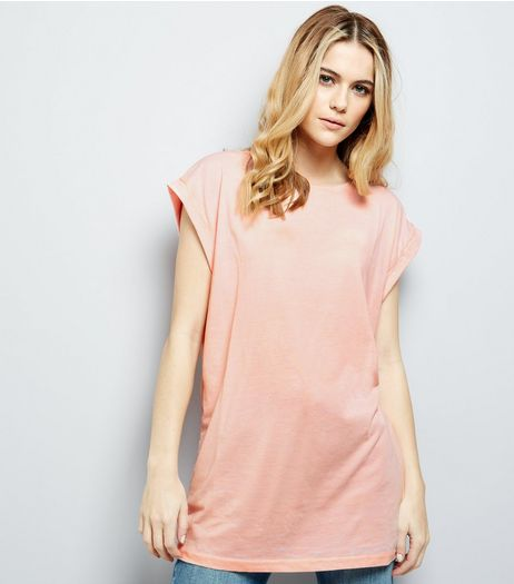 Coral Rolled Sleeve Longline T-Shirt | New Look