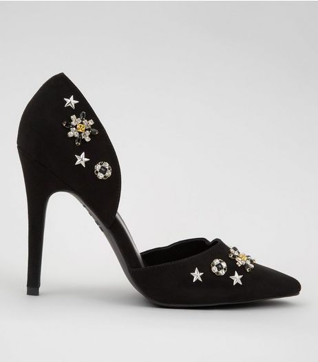 Black Suedette Embellished Pointed Heels | New Look