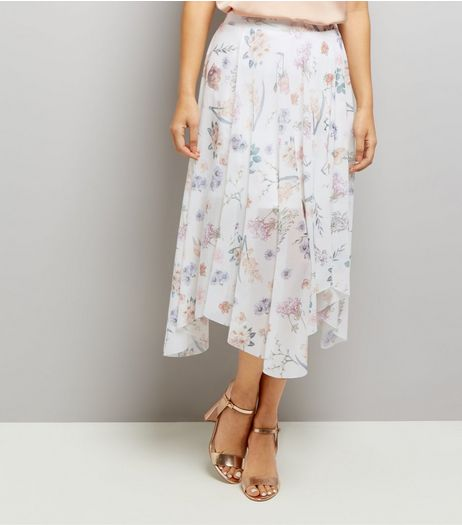 White Floral Print Hanky Hem Skirt  | New Look