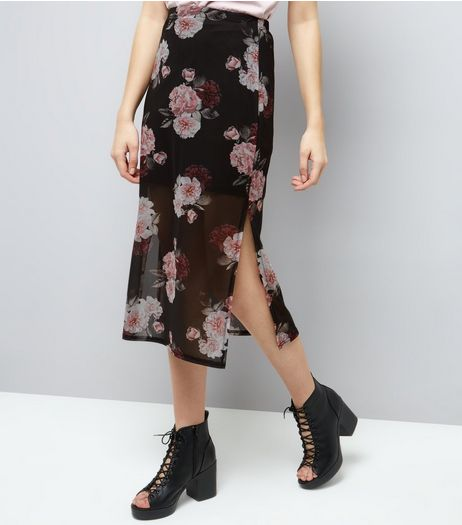 Black Rose Print Mesh Midi Skirt  | New Look