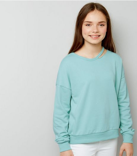 Teens Mint Green Cut Out Neck Sweater | New Look