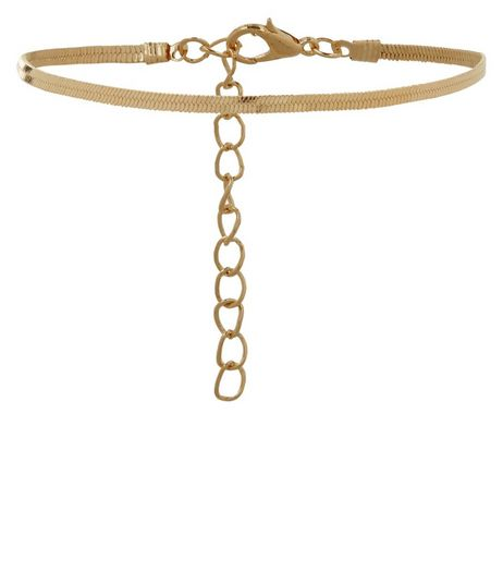 Gold Snakeskin Textured Chain Anklet  | New Look