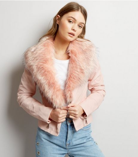 Blue Vanilla Pink Faux Fur Collar Leather-Look Jacket | New Look