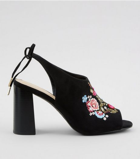 Black Floral Embroidered Heeled Mules | New Look