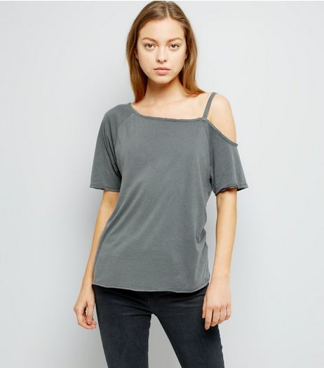 Dark Grey Asymmetric One Shoulder T-Shirt | New Look