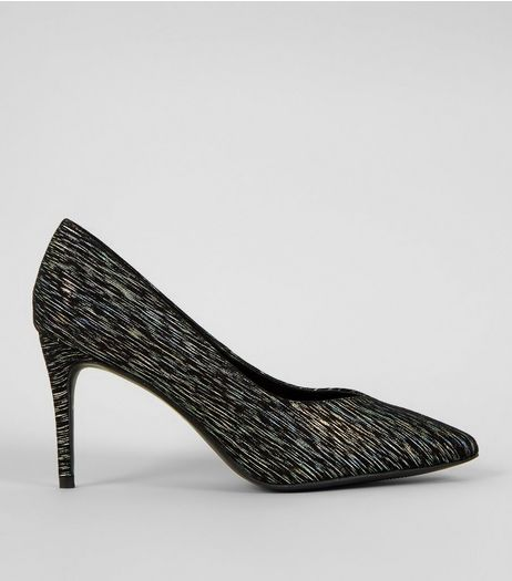 Wide Fit Black Iridescent Pointed Court Shoes | New Look