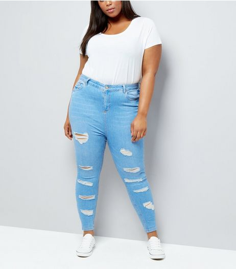 Curves Bright Blue High Waist Ripped Skinny Jeans | New Look
