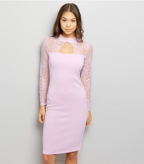 Lilac Lace Panel Cut Out Bodycon Dress | New Look
