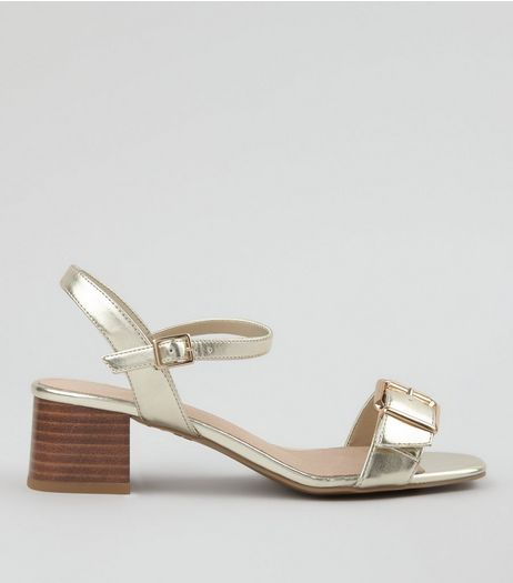 Wide Fit Gold Comfort Buckle Front Heeled Sandals | New Look