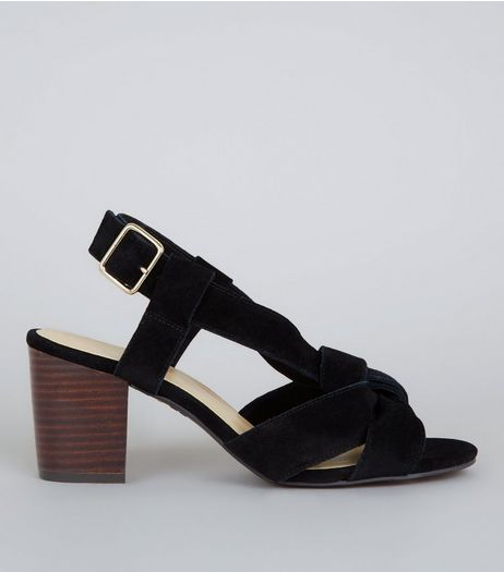 Wide Fit Black Suede Knot Front Block Heel Sandals | New Look