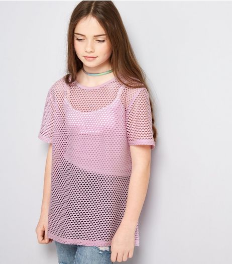Teens Lilac Mesh Oversized T-Shirt | New Look