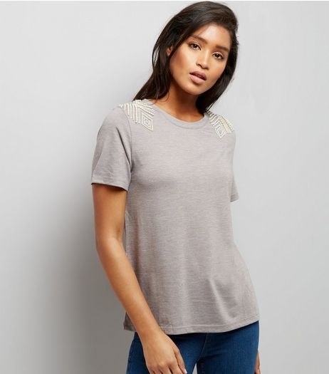 Grey Diamante Pearl Shoulder T-Shirt | New Look