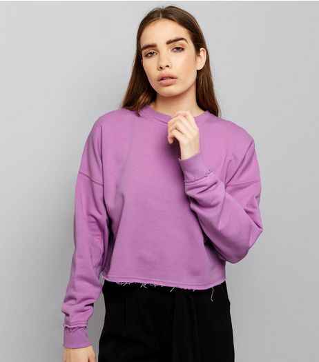Purple Balloon Sleeve Raw Hem Sweater | New Look