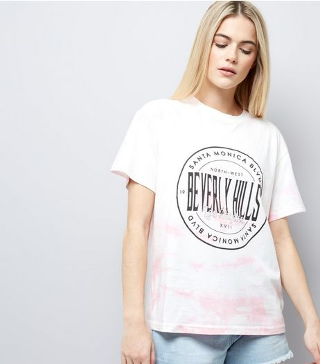 Pink Tie Dye Beverly Hills Print T-Shirt  | New Look