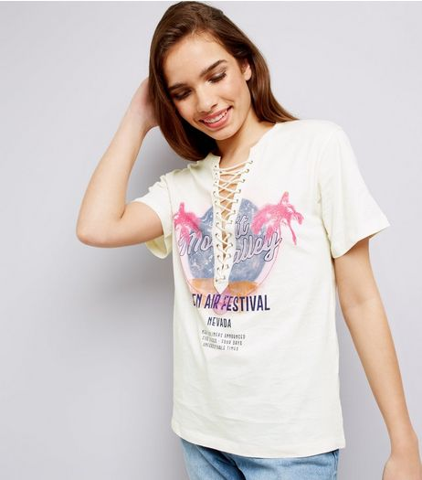Cream Palm Tree Rock Print Lace Up T-Shirt  | New Look