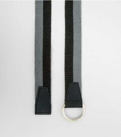Grey and Black Stripe Textured Belt | New Look