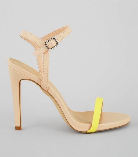 Yellow Contrast Ankle Strap Heels | New Look