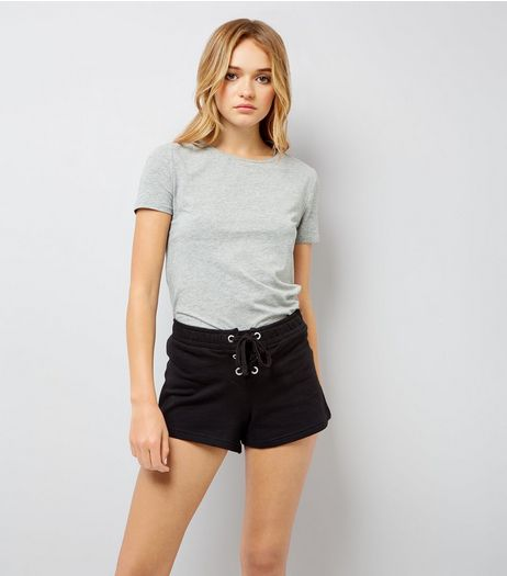 Black Lace Up Front Shorts | New Look