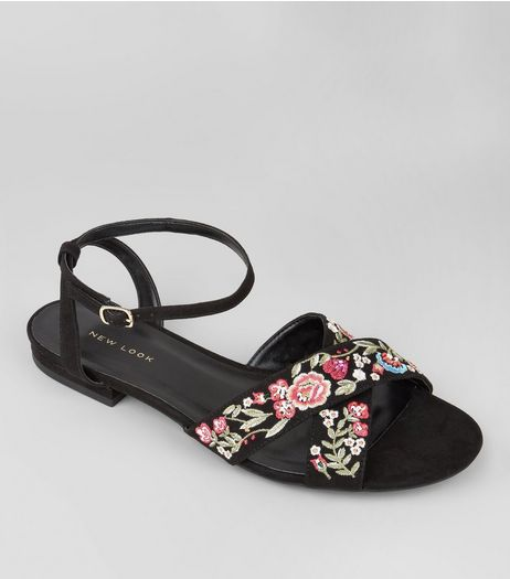 Black Suedette Floral Embroidered Cross Strap Sandals | New Look