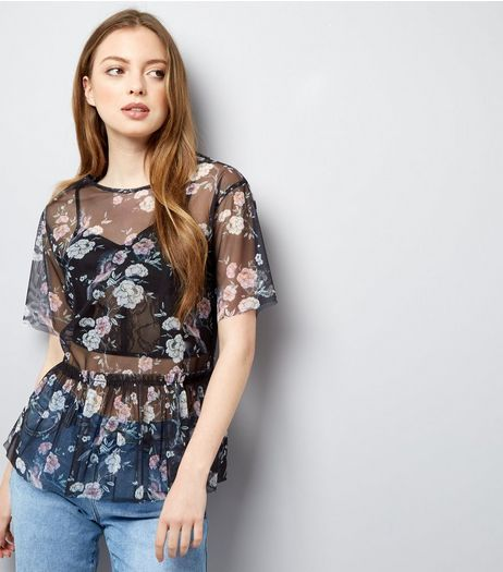 Tall Black Floral Print Mesh Peplum Hem Top | New Look