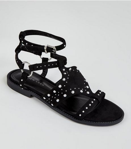 Black Suedette Studded Sandals | New Look