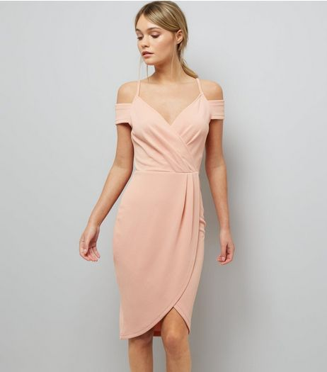 AX Paris Pink V Neck Wrap Front Midi Dress | New Look