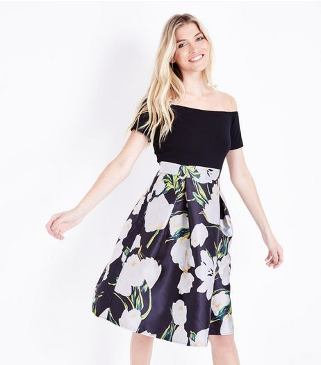 AX Paris Black Floral Skirt Bardot Dress | New Look