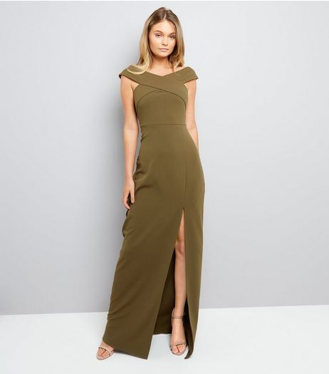 AX Paris Olive Green Bardot Neck Slip Side Maxi Dress  | New Look