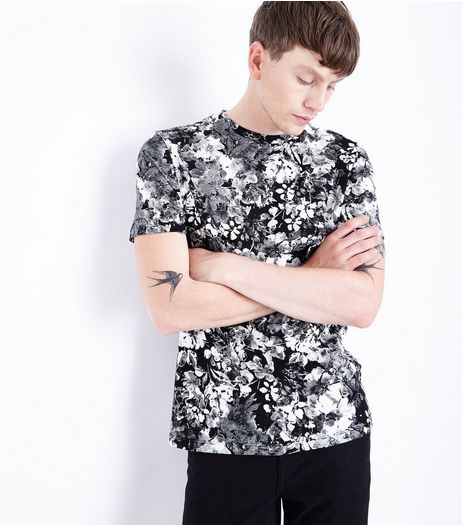 Black Floral Print T-Shirt | New Look